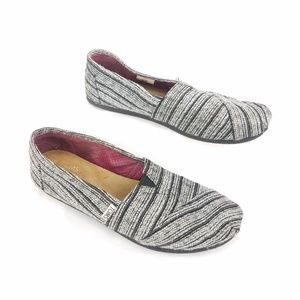 TOMS Black Silver Striped Canvas Slip On Shoes 7.5